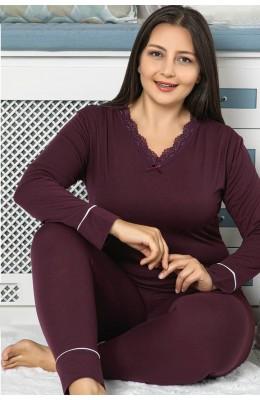 Battal Boy Jenika 42055 Büyük Beden Uzun Kol Mürdüm Renk Kadın Pijama Takımı