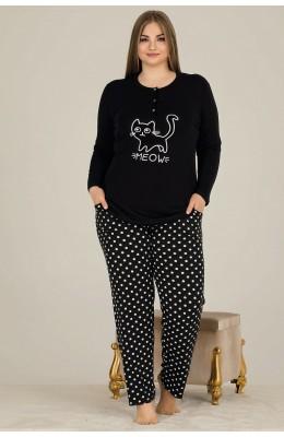 Battal Boy Lady 11317 Büyük Beden Uzun Kol Pijama Takımı