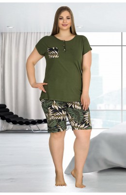 Lady 10345 Yeşil Çiçek Desenli Büyük Beden Battal Boy Şortlu Pijama Takımı - 2XL - 3XL - 4XL Beden Seçenekli