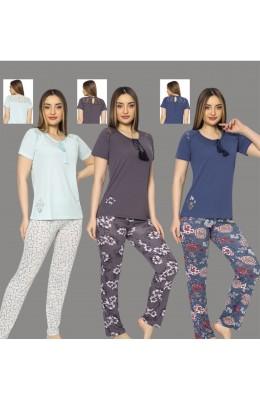 Kadın Lacivert Renkli  Kadın Kısa Kol Pijama Takımı - Erdeniz 0231 Kısa Kol Kısa Kollu Penye Pijama Takımı