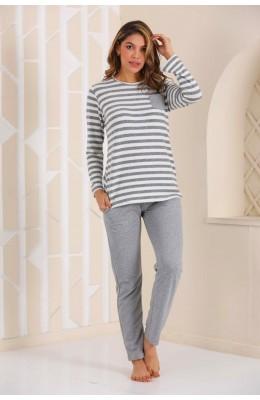 Kadın Kalın Kışlık Kumaş Uzun Kol Gri Renk ve Çizgili Blackmore 250 Pijama Takımı