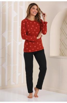 Kadın Kalın Kışlık Kumaş Uzun Kol Bordo Siyah Renk ve Puantiyeli Blackmore 252 Pijama Takımı