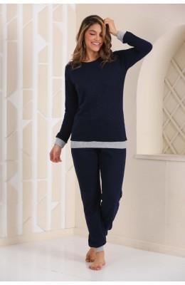 Kadın Kalın Kışlık Kumaş Uzun Kol Koyu Lacivert Renk Blackmore 255 Pijama Takımı