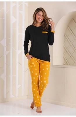 Kadın Kalın Kışlık Kumaş Uzun Kol Sarı - Siyah Renk ve Puantiyeli Blackmore 261 Pijama Takımı