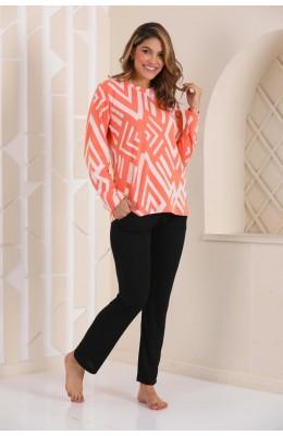 Kadın Kalın Kışlık Kumaş Uzun Kol Turuncu - Siyah Renk ve Çizgili Blackmore 275 Pijama Takımı