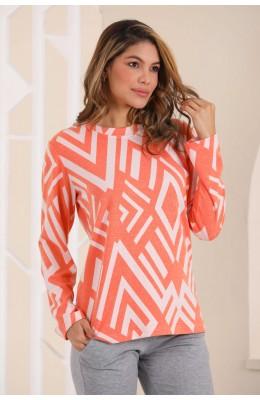 Kadın Kalın Kışlık Kumaş Uzun Kol Turuncu - Gri Renk ve Çizgili Blackmore 281 Pijama Takımı