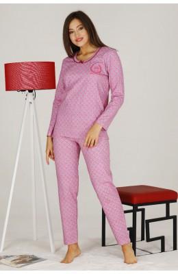 Modal Kumaş Pembe Renkli Uzun Kol Pijama Takımı - Teknur 70312 Uzun Kollu Modal Pijama Takımı