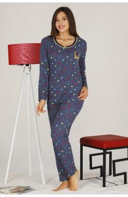 Modal Kumaş Siyah Renkli Uzun Kol Pijama Takımı - Teknur 70317 Uzun Kollu Modal Pijama Takımı