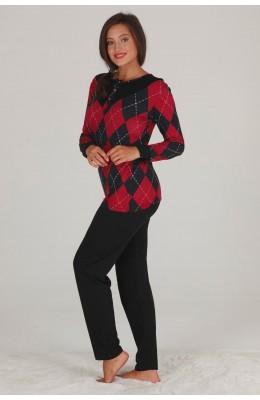 Modal Kumaş Kırmızı - Siyah Renkli Uzun Kol Pijama Takımı - Teknur 70467 Uzun Kollu Modal Pijama Takımı