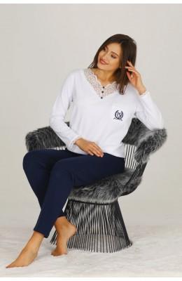 Modal Kumaş Beyaz - Lacivert Renkli Uzun Kol Pijama Takımı - Teknur 70527 Uzun Kollu Modal Pijama Takımı