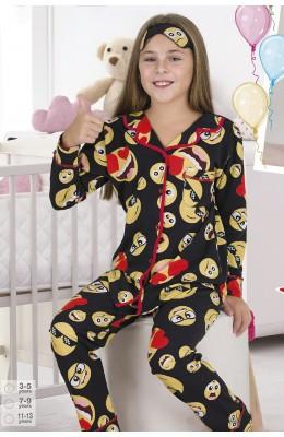 Önden Düğmeli Teknur 41605 Kız Çocuk Pijama Takımı
