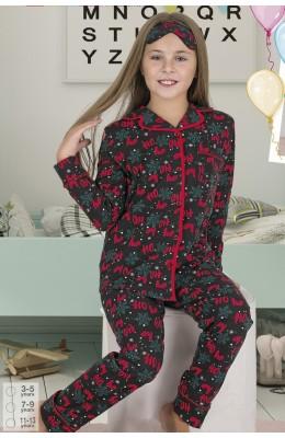 Önden Düğmeli Teknur 41606 Kız Çocuk Pijama Takımı