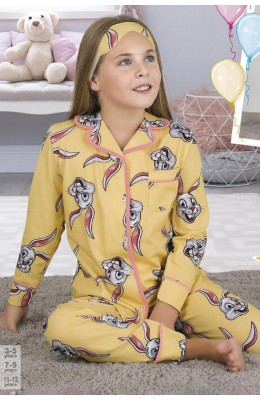 Önden Düğmeli Teknur 41639 Kız Çocuk Pijama Takımı