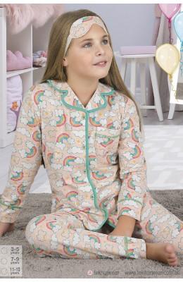 Önden Düğmeli Teknur 41644 Kız Çocuk Pijama Takımı