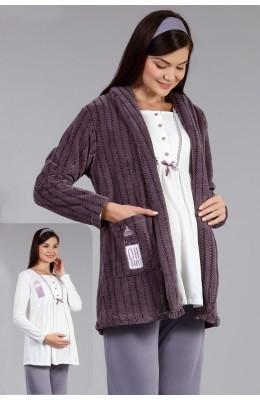 BAHA 4005 3lü Lohusa Pijama Takımı - Haluk Bayram Polar Sabahlıklı Hamile Pijaması