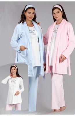BAHA 4011 3lü Lohusa Pijama Takımı - Haluk Bayram Polar Sabahlıklı Hamile Pijaması