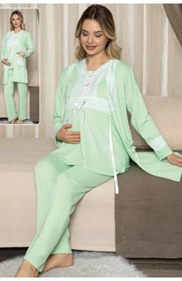 Jenika Sabahlıklı Hamile Pijama Takımı -  Jenika 47076 3lü Sabahlıklı Lohusa Pijaması