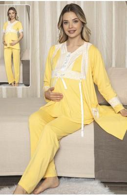 Jenika Sabahlıklı Hamile Pijama Takımı -  Jenika 47077 3lü Sabahlıklı Lohusa Pijaması