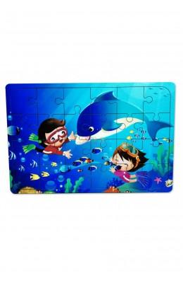 Yunus Balığı ve çocuk3-9 Yaş Çocuklar için 24 Parçalı Ahşap Puzzle Yapboz