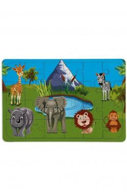 Safari 24 Parça Ahşap Puzzle Yapboz - Hayal Ahşap Çocuk Puzzle