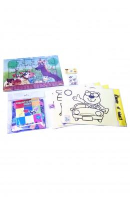 Çocuklar için Aktivite Seti - 6 Parça Puzzle, Kum Boya, Origami Seti