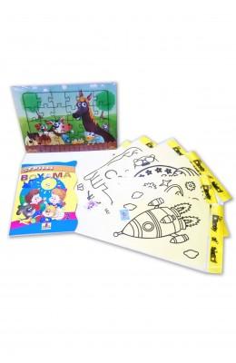 Çocuklar için Aktivite Seti 8 Parça (Puzzle, Kum Boya, Boyama Kitabı)