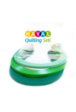 Doğa Serisi 3 Farklı Ton Yeşil Renkli 300 Adetli Quilling Kağıdı