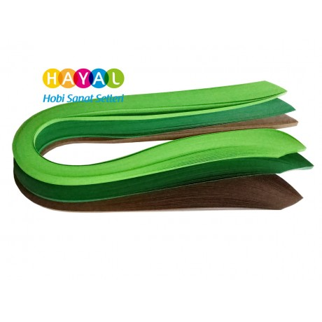 Orman Serisi 2 Farklı Ton Yeşil ve Kahverengi Renkli 300 Adetli Quilling Kağıdı