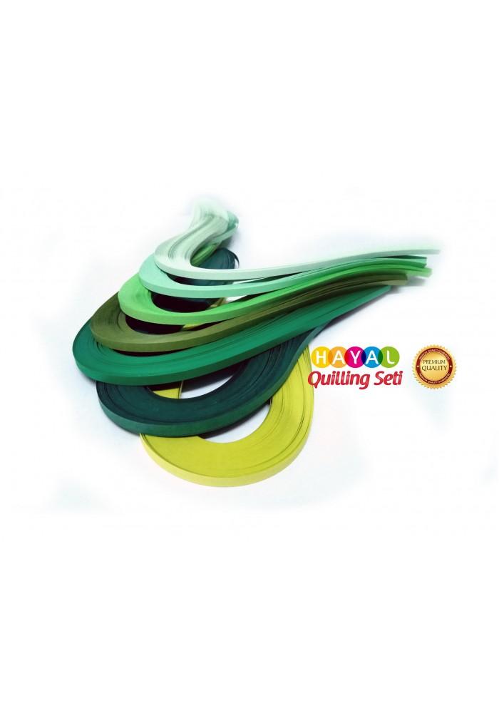 Yeşil Dünya Serisi 7 Farklı Ton Yeşil Renkli 700 Adetli Quilling Kağıdı-Temalı Quilling Kağıtları