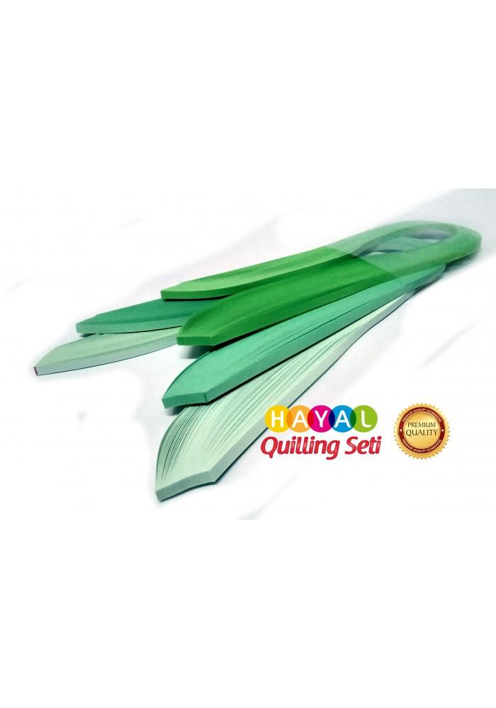 Açık Yeşil Serisi 3 Farklı Ton Yeşil Renkli 300 Adetli Quilling Kağıdı-Temalı Quilling Kağıtları