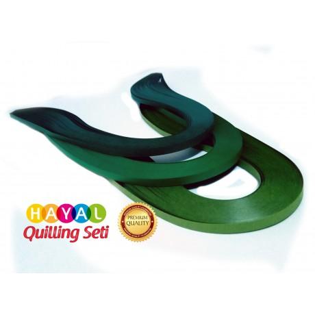 Koyu Yeşil Serisi 3 Farklı Ton Yeşil Renkli 300 Adetli Quilling Kağıdı