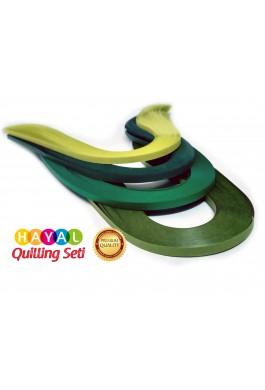 Dörtlü Yeşil Serisi 4 Farklı Ton Yeşil Renkli 400 Adetli Quilling Kağıdı