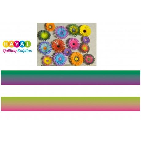 Koyu Yeşil - Mor / Pembe - Açık Yeşil Renk Geçişli Quilling Kağıdı-Renk Geçişli Quilling Kağıtları