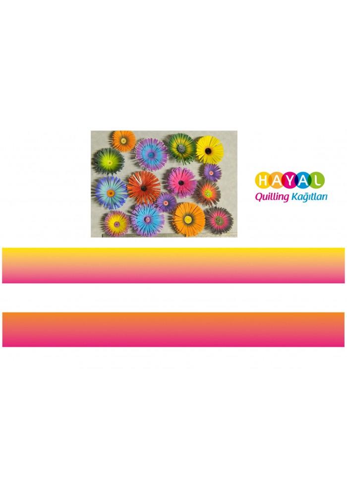 Pembe - Sarı / Turuncu - Sarı Renk Geçişli Quilling Kağıdı-Renk Geçişli Quilling Kağıtları