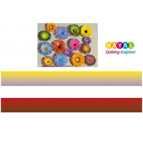 Sarı - Lila / Koyu Kırmızı - Kahverengi Renk Geçişli Quilling Kağıdı