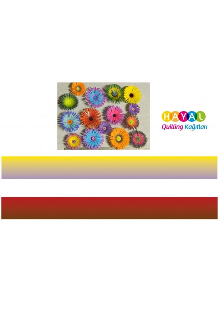 Sarı - Lila / Koyu Kırmızı - Kahverengi Renk Geçişli Quilling Kağıdı-Renk Geçişli Quilling Kağıtları