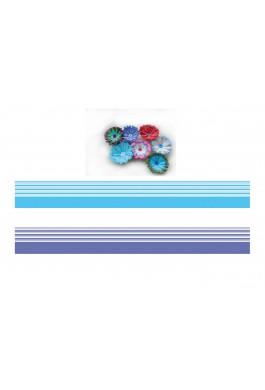 Mavi - Beyaz / Lacivert - Beyaz Renk Geçişli, Çizgili Quilling Kağıdı