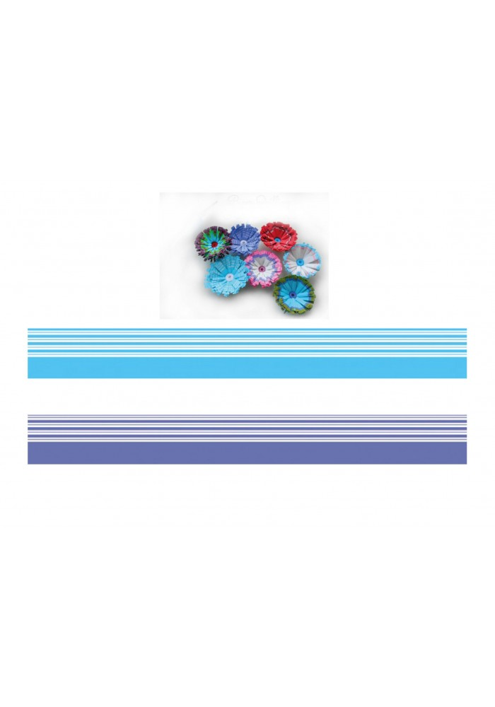 Mavi - Beyaz / Lacivert - Beyaz Renk Geçişli, Çizgili Quilling Kağıdı-Renk Geçişli Quilling Kağıtları