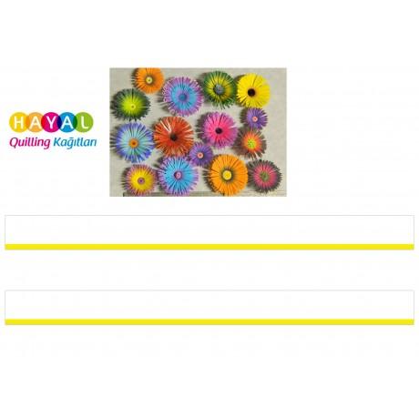 Sarı - Beyaz Renk Geçişli Çizgili  Quilling Kağıdı-Renk Geçişli Quilling Kağıtları