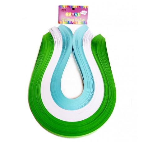 Quilling Kağıdı - Yeşil, Beyaz ve Açık Mavi 300'lü