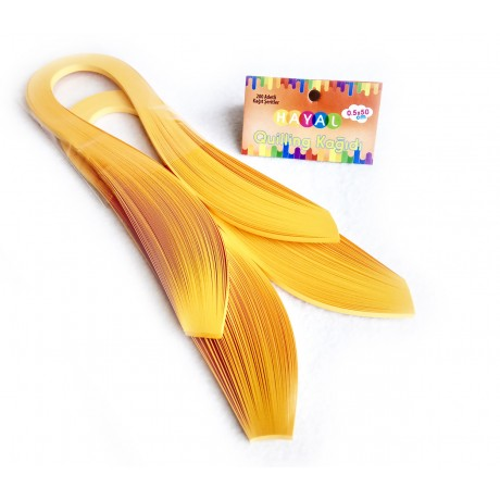 Quilling Kağıdı Tek Renkli - Koyu Sarı Renk 200'lü