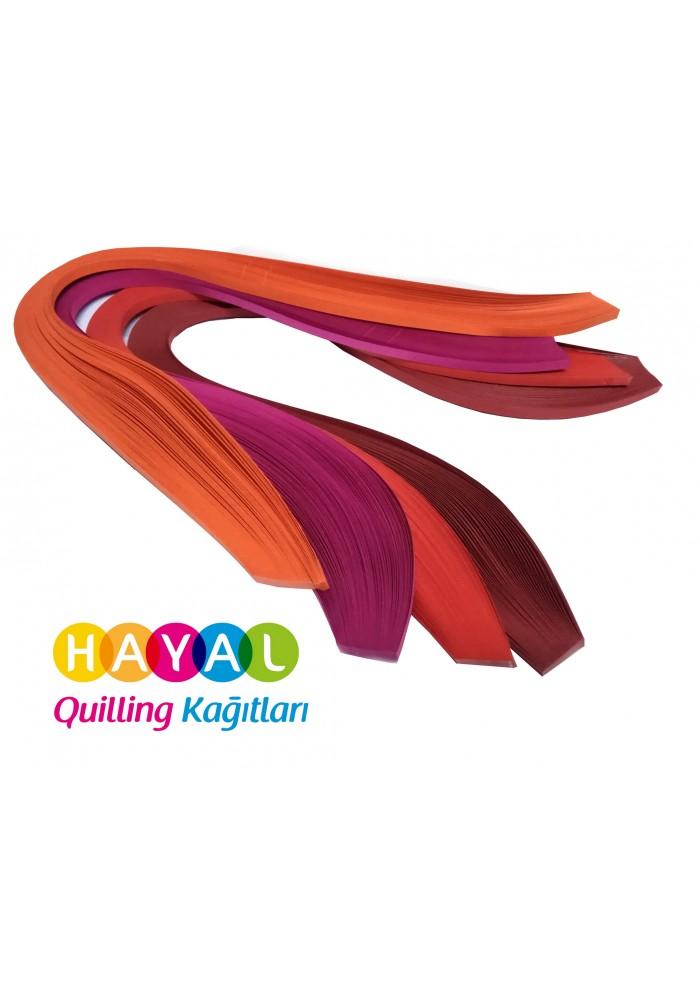 Turuncu, Fuşya, Kırmızı ve Koyu Kırmızı 400 Adetli Quilling Kağıdı-Temalı Quilling Kağıtları